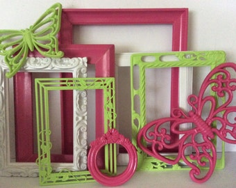 7 Hot Pink Green Picture Frames Butterflies - Bright Colorful - Frame Collection - Girls Room Baby Nursery - Gallery Wall - Modern Cottage