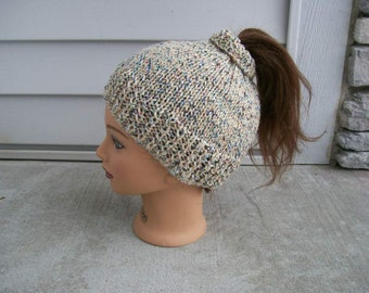 97) Pony Tail / Bun Knit Hat  Hand Made  Knit  Children  Teens   Adults   For Pony Tails    For Buns