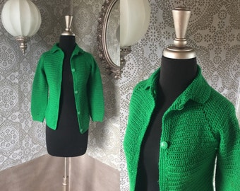 Vintage 1960's Kelly Green Handmade Knit Cardigan XS