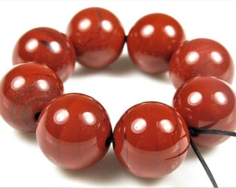 Luscious Quality Brick Red Jasper Large Round Bead - 13mm - 8 Beads - B6589