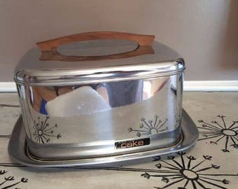 Lincoln Beautyware Cake Plate Cake Servier with Tray Classic Lincoln Cake Taker Cake Tote Chrome Kitchen Chrome Beautyware Cake Carrier