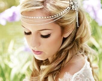 SALE, Silver Forehead Piece, Crystal Headband, Crystal Headdress, crystal tiara,  Silver bridal, wedding headpiece, crystal forehead chain