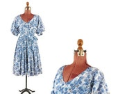 ON SALE Vintage 1950's Blue Puffy Princess Sleeve Abstract Blue Novelty Floral Print Garden Party Dress S