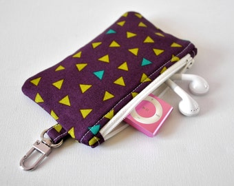 Woman's key chain confetti triangle coin pouch padded gadget change purse in purple, olive and aqua print.
