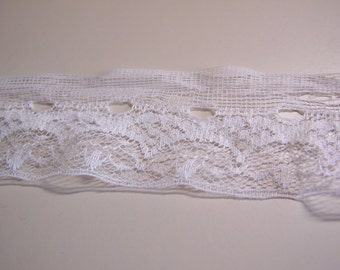 "5 Yards Vintage White Lace Trim for Ribbon Insertion 1-3/4"" Wide"