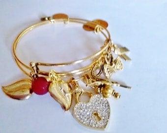 Charm #Bracelet #Antique #Gold, #leaf #Money #Adjustable #Charms Hearts #Bird #Red #Crystal