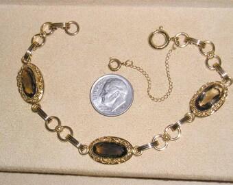 Vintage Signed 1/20 12k Gold Filled Bracelet With Bezel Set Brown Topaz Glass 1970's Jewelry 2321