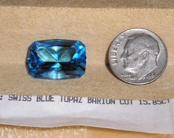 Vintage Swiss Blue Topaz Barion Cut 15.85ct. Jewelry