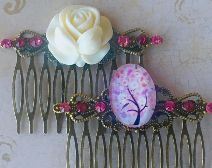 Hair Accessories, Decorative Combs, Hair Combs, Cabochon Combs, Rose Combs, Flower Combs, Swarovski Crystal
