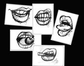 Sketch lips Stickers, sketch art sticker lips, pen and ink sketched lips, graphic stickers, Sticker Set 3