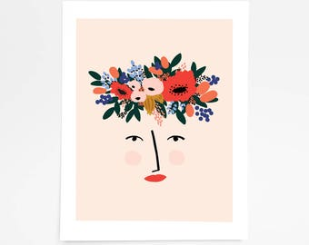 Lady with the Flower Crown - Art Print - 8x10