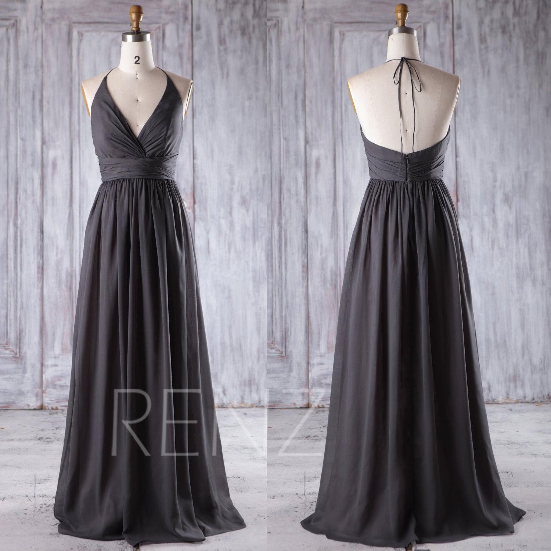 2016 Charcoal Gray Chiffon Bridesmaid Dress Deep V by RenzRags