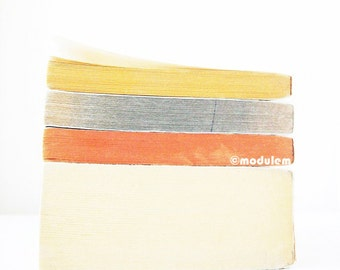 Flax Slate Blue Orange Ivory - Book Stack Photography, vintage books print, yellow, cream, grey, gray, off-white, 8x8, 8x10
