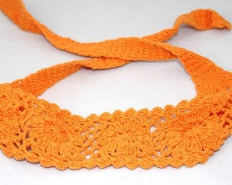 Orange girls Headband, hair accessory, crochet, gift for a girl