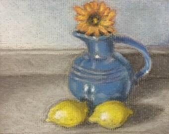 "Original Pastel Painting 4x6 ""Cobalt Blue and Lemon Yellow"""
