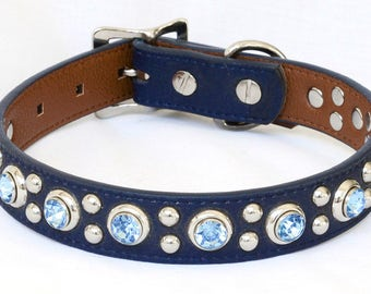 "Sky Blue Dog Collar, Faux Leather Dog Collar, Water Proof Dog Collar, Custom Dog Collar, 1"" wide, sizes Medium to Large,"