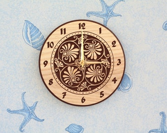 Round flowers carved wall clock for Living room clock for Kitchen clock Wood clock Round clock Birthday gift Flowers design Silent clock