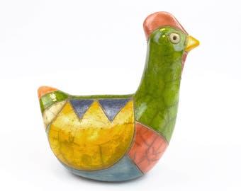 Multicoloured Ceramic Chicken!