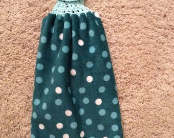 Hanging Kitchen Towel -  Crochet Top Towel - Teals - Polka Dots - Double and Reversible