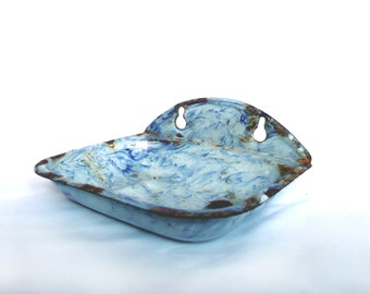 Vintage French Enamelware Porcelain Soap Dish Blue