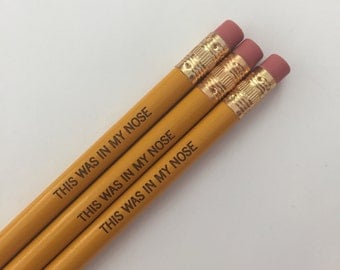 this was in my nose engraved pencil set of three in mustard yellow. tired of having people steal your pencils? This will help.
