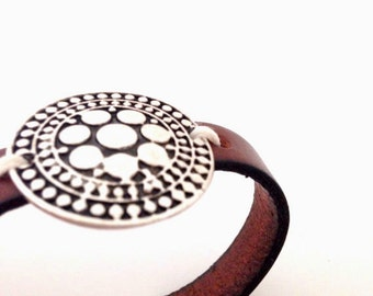 Silver Medallion Leather Bracelet. Choose Bracelet Color. Magnetic Clasp Premium Leather Bracelet.
