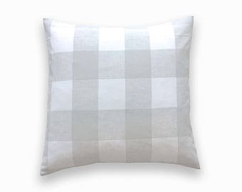 French Grey Buffalo Check Throw Pillow Cover. 20 X 20 Inches. Gray and White Gingham. Plaid Decorative Cushion Cover.