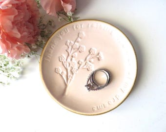 wedding ring dish, ring holder, Thank you for raising the man of my dreams, Mother of Groom gift,  parent gift, Pink blush, Parent gift