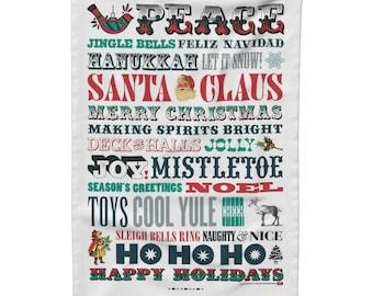 Christmas Tea Towel, Gift Idea for Her, Holiday Season Tea Towel, Christmas Kitchen Linen, Christmas Dish Cloth, Christmas Typography Towel