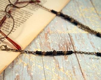 Antique Brass Eyeglasse Chain,  Beaded Sun glass Lanyard, Reading Glasses Lanyard For Men, OOAK Handmade Eyeglass Chain. Gift for Him