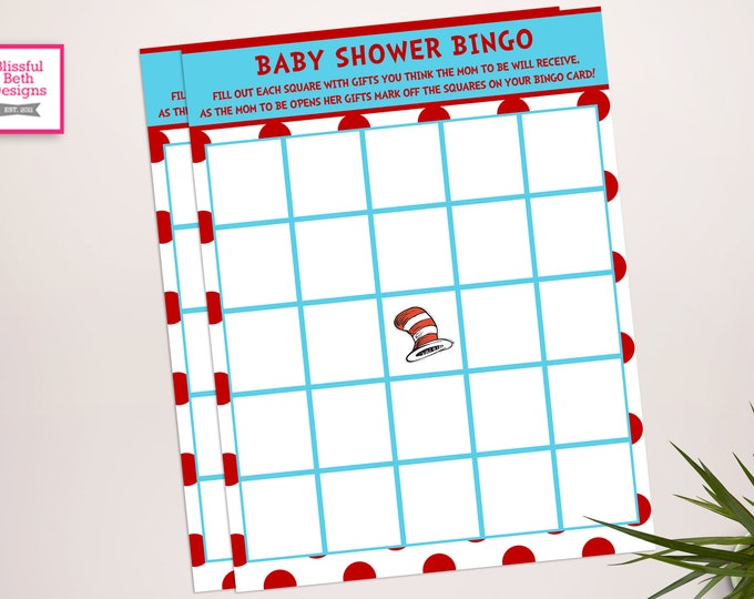 Seuss Baby Shower Bingo, Baby Shower Games, Baby Shower Bingo, Dr. Seuss Bingo, Instant Download, Seuss Instant Download, Ready to print