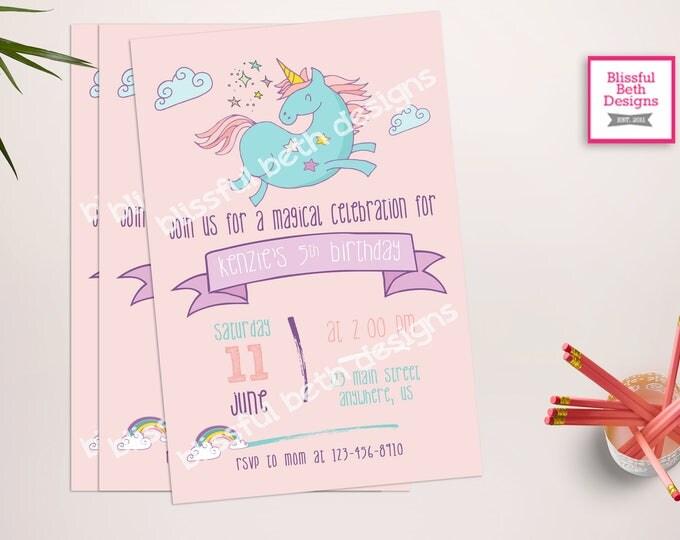 UNICORN BIRTHDAY INVITATION, Printable Unicorn Invitation, Girly Unicorn Invitation, Unicorn  Invitation, Magical, Pastel Unicorn