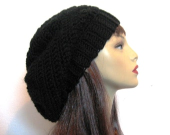 Black Slouchy Beanie Black Crochet Slouch Hat  Black Oversized Hat Black knit Beanie Black Knit Cap Black slouch beret Black Tam slouchy hat