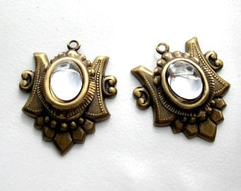 Two Piece Set of Clear Glass Cabochon Pendants in Antiqued Brass