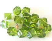 HOLIDAY SALE 20% OFF 10x8mm Clear Olivine Czech Glass Cube Dice Beads Czech Preciosa Clear Green Glass Square (Gcc-040516) 16 Pieces - New