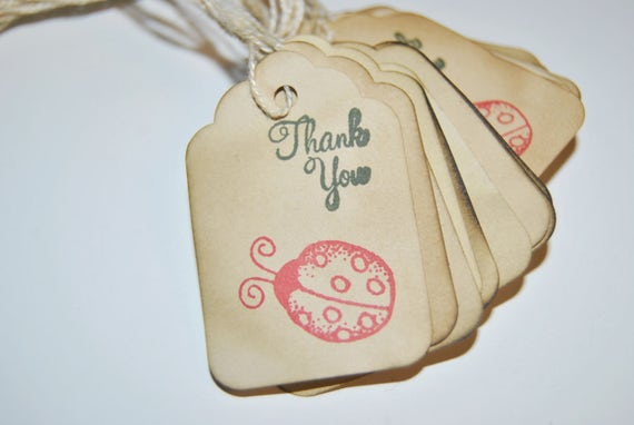 red ladybug thank you Coffee stained favor gift tags. lucky bugs hand stamped. small. miniature tiny mini