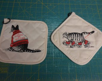 Two Vintage New Old Stock KLIBAN CAT Pot Holders - I'd Rather Be Mousing and Red Sneakers and Rollerskates Kliban Cat Pot Holders