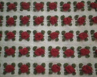 Lot of RARE and Gorgeous Morgan Jones RED ROSEBUD Vintage Chenille Bedspread Fabric - 4 Pieces