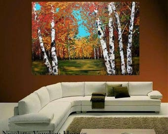 "SALE HUGEOil Landscape painting Abstract Original Modern 48""X36"" palette knife Birch Trees  impasto oil painting by Nicolette Vaughan Horner"