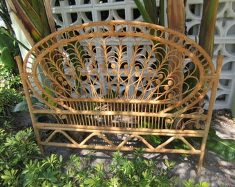 Shipping  / PEACOCK MANIA / Lovely Wicker Natural Colored Full Headboard / Boho Beautiful / Palm Beach Chic / Florida Local Pick Up