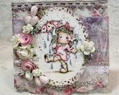 OOAK Magnolia Tilda Cards - Set of 3 - Shabby Chic, Valentines, Pinks, Whites, Girly