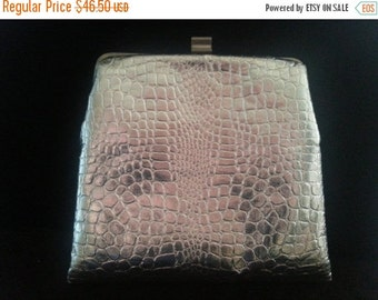 Christmas Sale Cute Vintage Clutch Purse, Animal Snake Skin Print, Shiny Silver Handbag,1960's 1960's Old Hollywood Glam