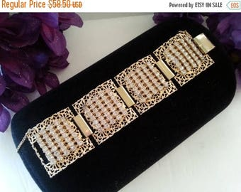 Now On Sale Chunky Wide Bracelet, Vintage Rhinestone Statement Jewelry, Mid Century 1950's Accessories, Gift For Her
