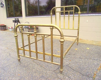 Antique Brass Bed early 1900s Victorian - Complete Headboard Footboard Cast Iron Rails - Full Size