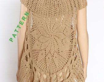 Crochet Pattern Lace Long Bohemian Vest Circular Vest Pattern PDF Bohemian Waistcoat Lace Vest Pattern