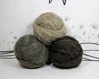 Needle felting core wool roving, gray or tan natural wool roving, wool stuffing, bulk core wool,4 ounces or 2 ounces core wool, wool batt