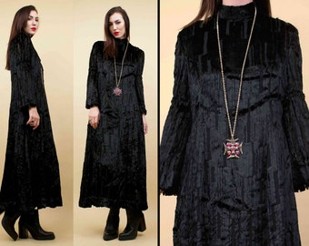 1910 - 1930s Vtg Genuine SILK Velvet Devoré Jet Black Midi Dress / BELL Sleeve Deco Collar FUR Museum Worthy / Small