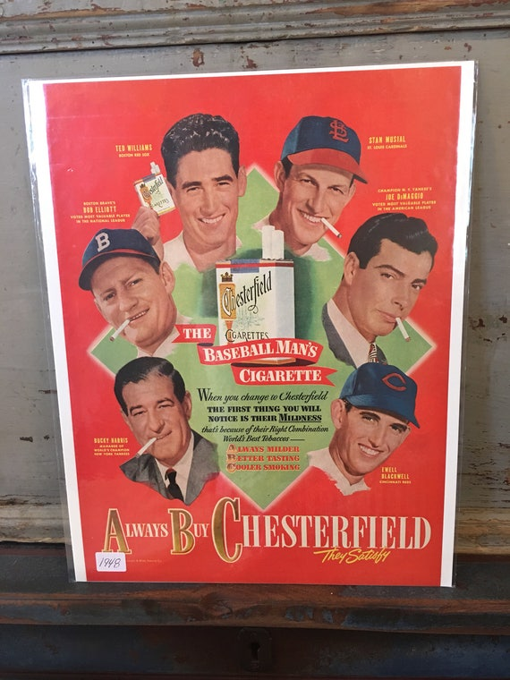 1948 Original Advertising Chesterfield Cigarette BASEBALL Players Ad