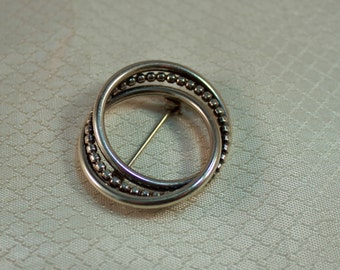 BEAU Mid Century Sterling Intertwined Circles Brooch