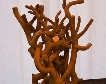 Aspen accent lamp  - Wood art - Modern rustic decor - Wood sculpture - Tree sculpture